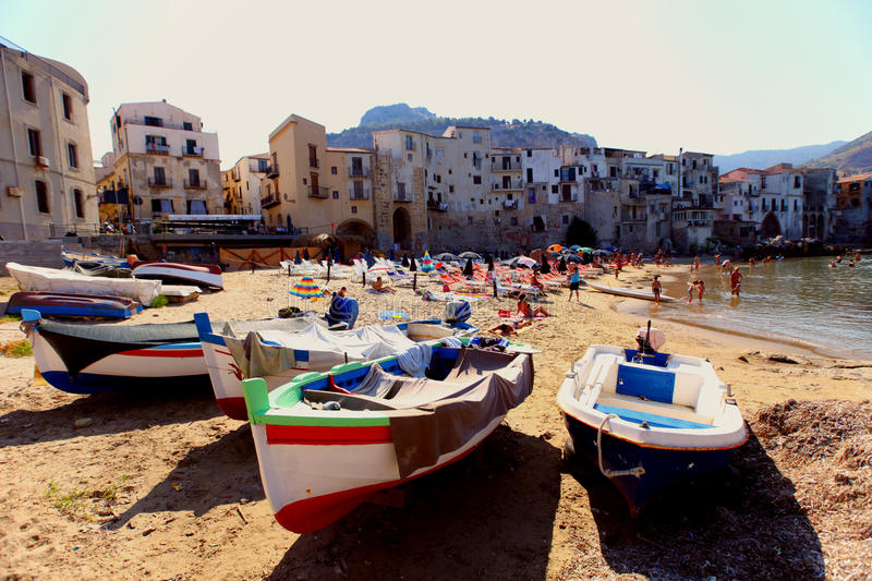 Cefalu, Sicily. Detail fromthe Mediterranean coast in Cefalu, Sicily royalty free stock images