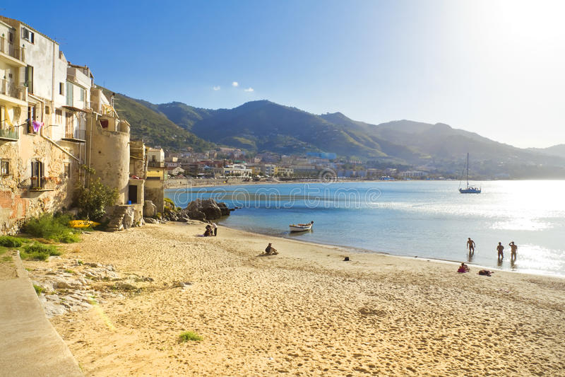 Cefalu, Sicily. Beautiful view of Cefalu beach, Palermo, Sicily stock photo