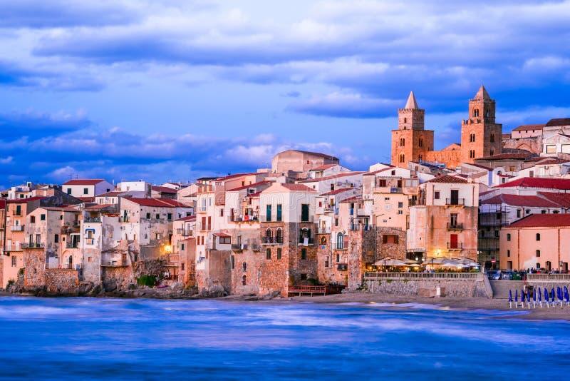 Cefalu, Ligurian Sea, Italy, Sicily. Cefalu, Sicily. Ligurian Sea and medieval sicilian city Cefalu. Province of Palermo, Italy royalty free stock photo