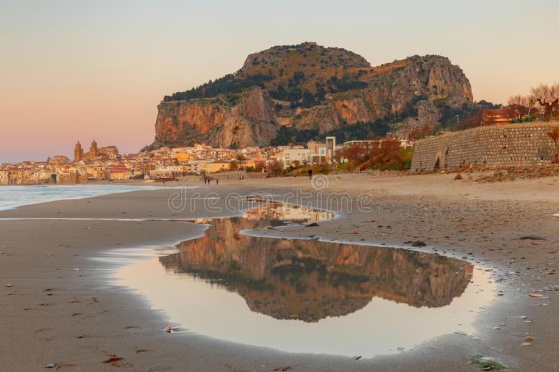 Cefalu. Sicily. Old city. City embankment in the old medieval town Cefalu at sunset. Italy. Sicily stock images