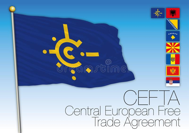 Cefta agreements flag, Central Europe. An organization, vector illustration with flags royalty free illustration