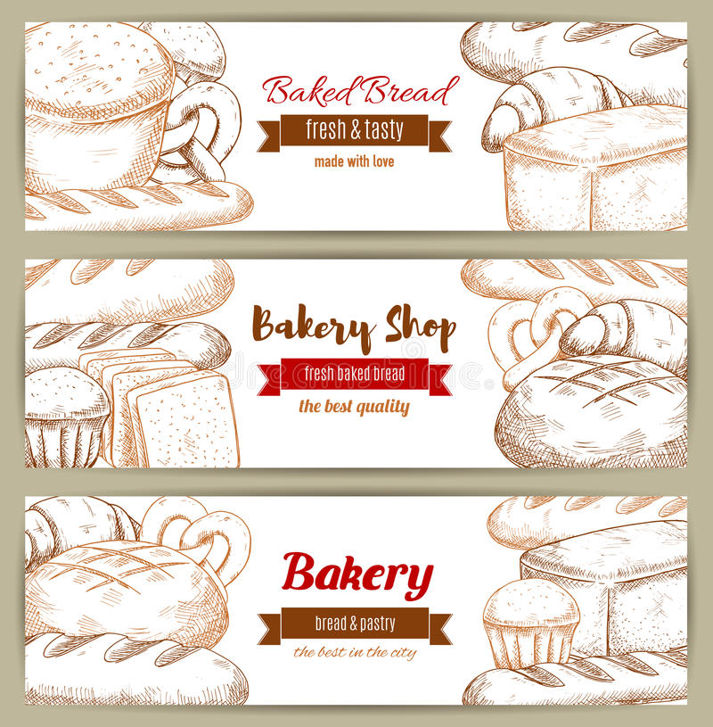 Cegła chlebowy bochenka nakreślenia sztandar ilustracji