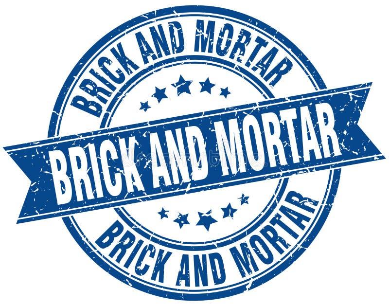 cegła i moździerzowy round grunge znaczek royalty ilustracja