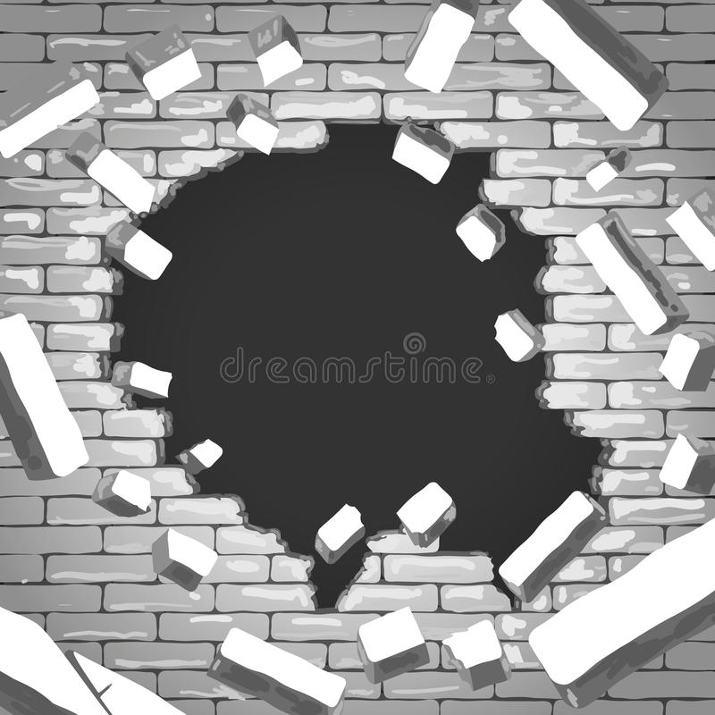 cegła niszcząca ściana royalty ilustracja