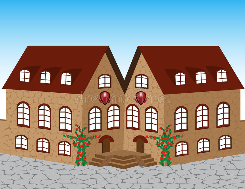 cegła piękny dom ilustracji
