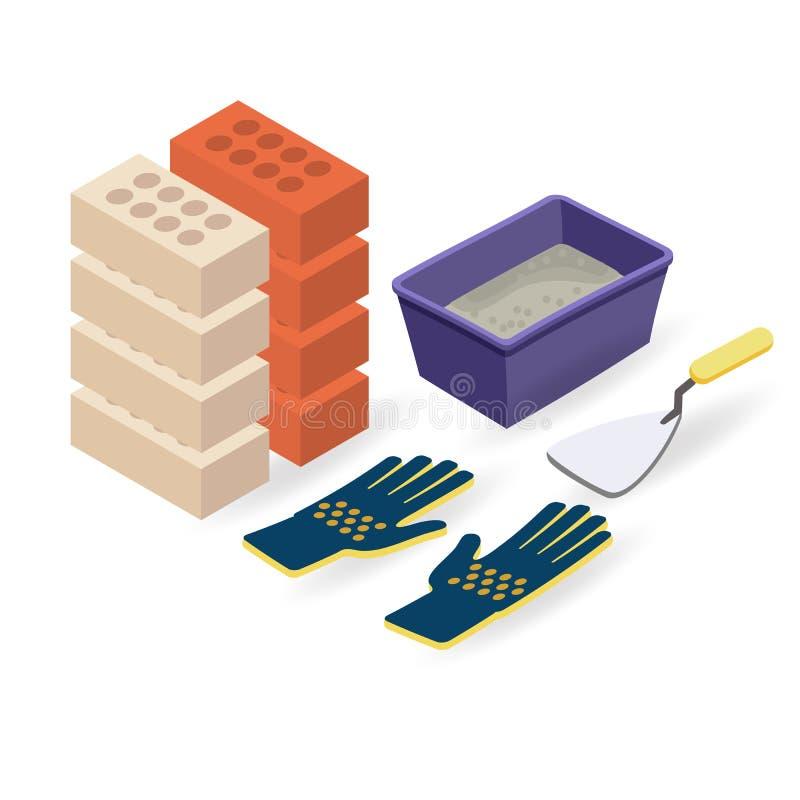Cegła, rękawiczki, szpachelka, moździerz Isometric budów narzędzia royalty ilustracja
