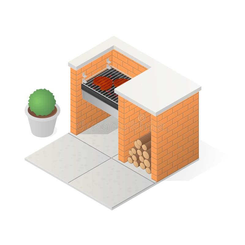 Cegły BBQ grill ilustracja wektor