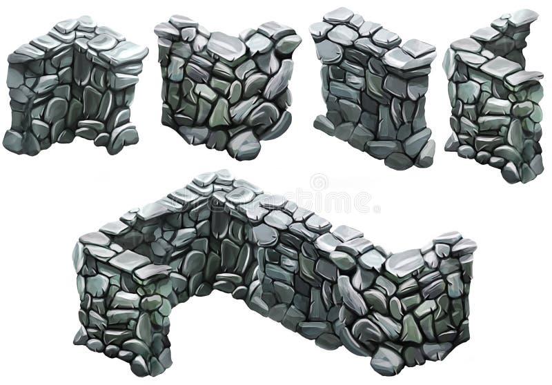 Cegły i kamienia ogrodzenie ilustracja wektor