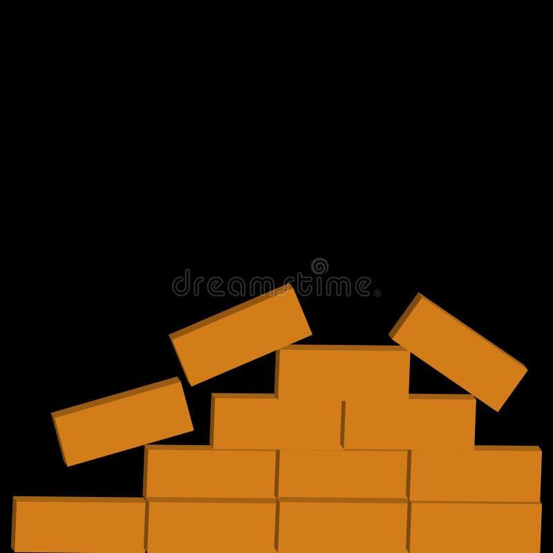 Cegły odizolowywać na czarnym tle ilustracja wektor