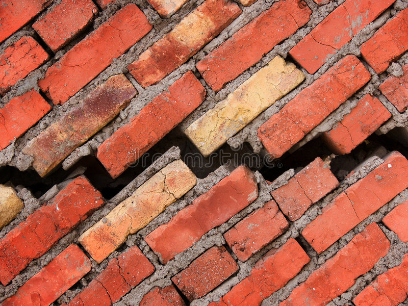 cegły pęknięcia domu ściana fotografia stock