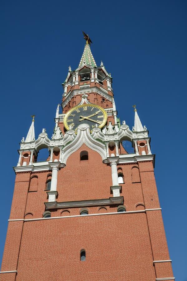 Cegły wierza Moskwa Kremlin, Spasskaya wierza - obrazy stock