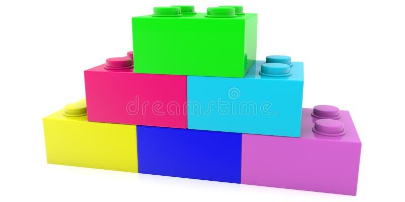 Cegły zabawek o różnych kolorach na białym tle w postaci ostrosłupa ilustracji