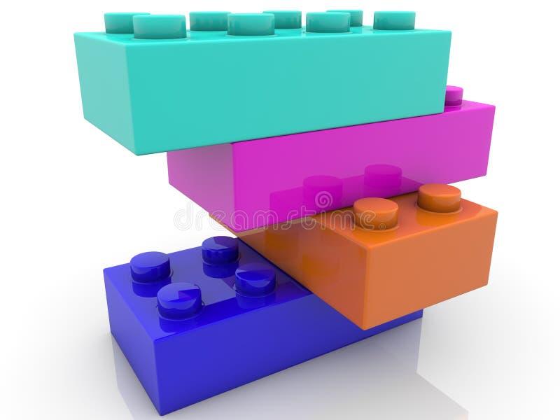 Cegły zabawkowe układane na siebie ilustracja wektor