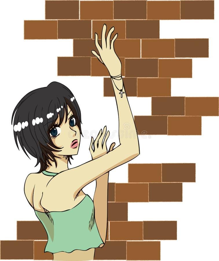 ceglana dziewczyna royalty ilustracja