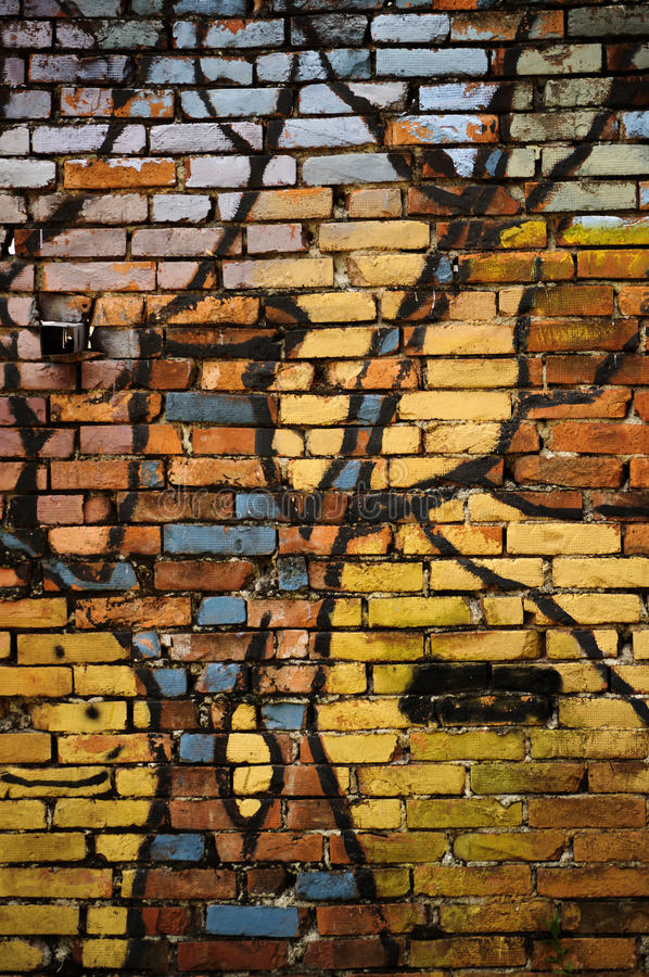 ceglana kolorowa ściana zdjęcia royalty free