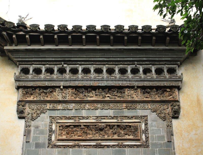 Ceglany cyzelowania rzemiosło w Huizhou zdjęcia stock