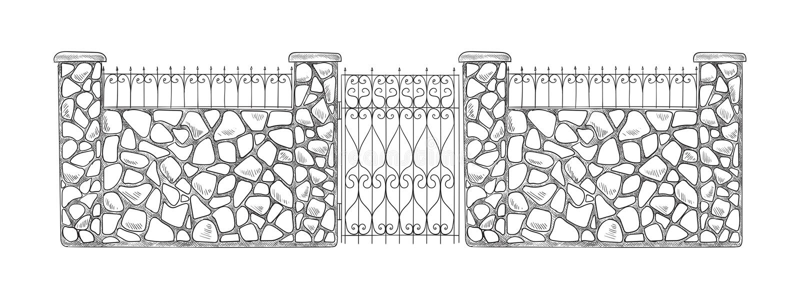 Ceglany nakreślenia ogrodzenie ilustracji