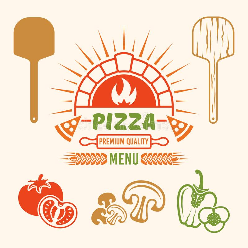 Ceglany piekarnika i pizzy wektoru barwiony emblemat royalty ilustracja