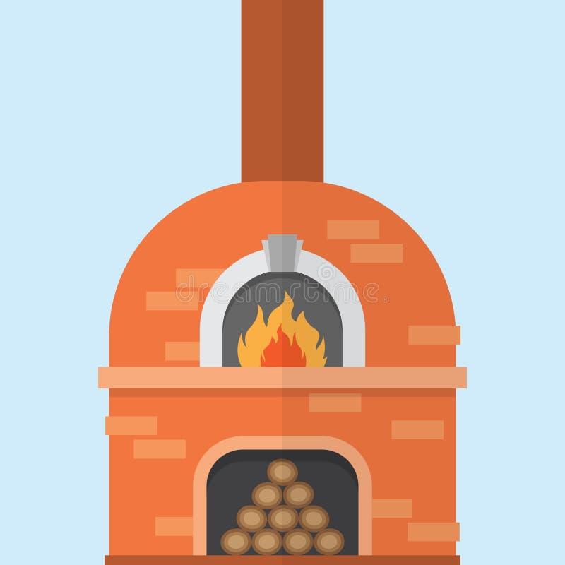 Ceglany pizza piekarnik z ogieniem ilustracji