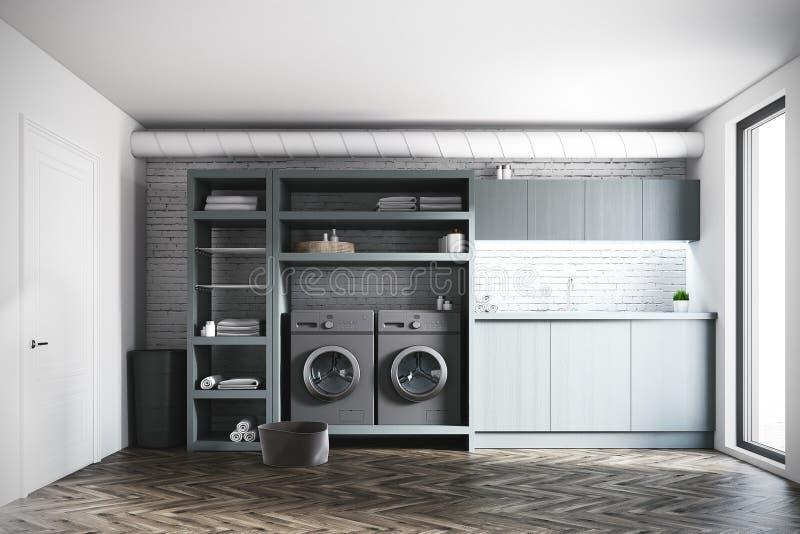 Ceglany pralniany pokój, szare pralki, drzwi ilustracji