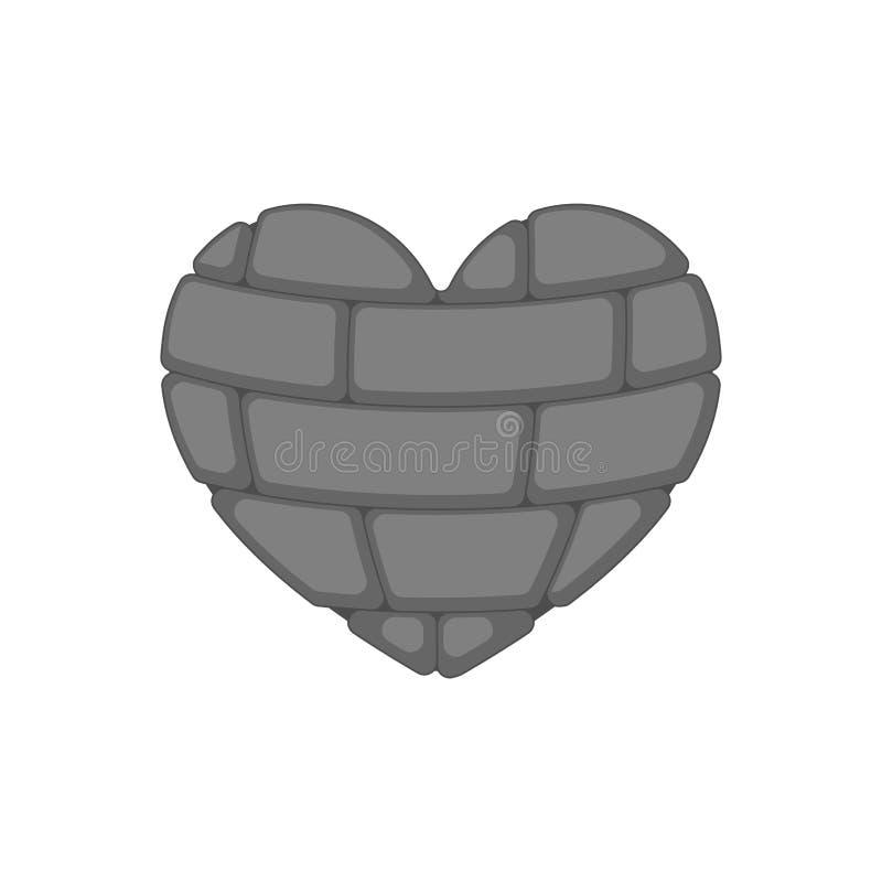 Ceglany serce odizolowywający Rockowy wewnętrzny organ miłość symbolu wektor il ilustracja wektor