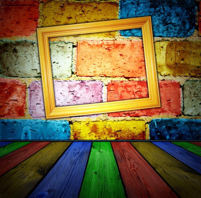 Download Ceglany Wewnętrzny Drewniany Zdjęcie Stock - Obraz złożonej z prostokąty, wnętrze: 13338700