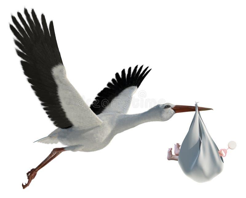 Cegonha & bebê ilustração do vetor