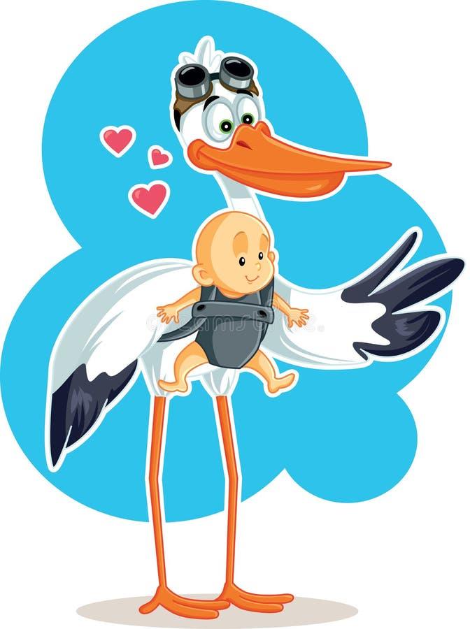 Cegonha bonito com o bebê na ilustração do vetor do estilingue ilustração royalty free