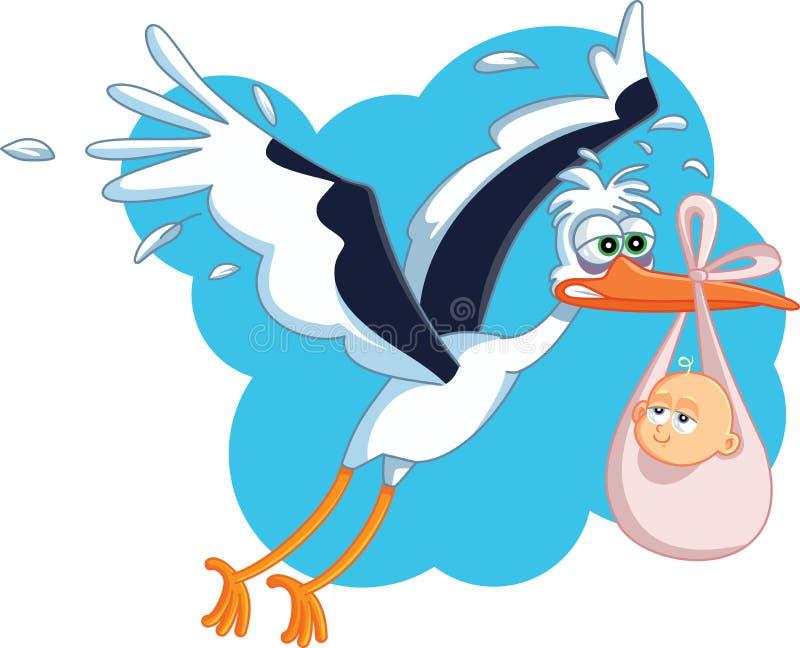 Cegonha cansado com desenhos animados do vetor do voo do bebê ilustração royalty free