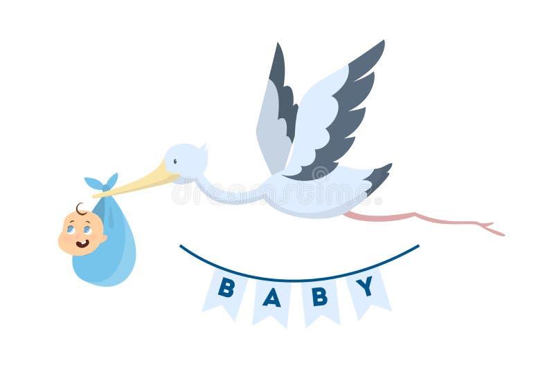 Cegonha com bebê ilustração stock