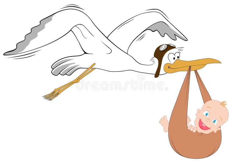Cegonha com bebê ilustração royalty free