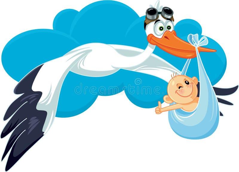 Cegonha com desenhos animados do vetor do cartão do convite do bebê ilustração do vetor