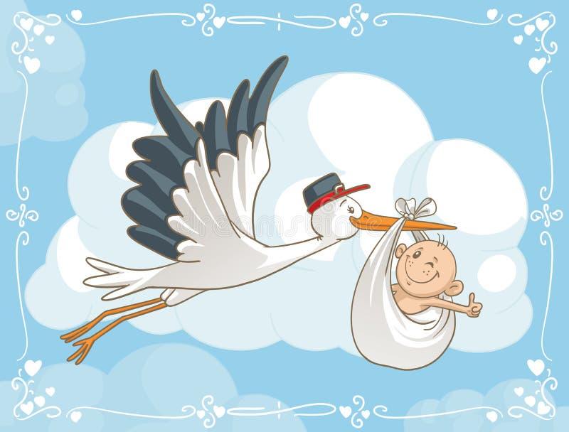 Cegonha com desenhos animados do vetor do bebê ilustração stock