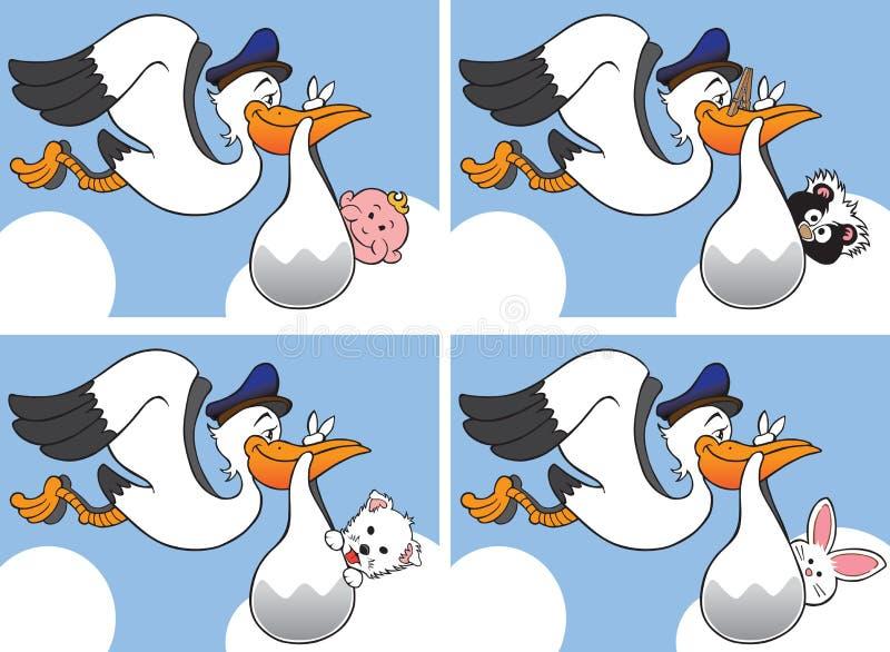Cegonha com os quatro bebês diferentes ilustração stock