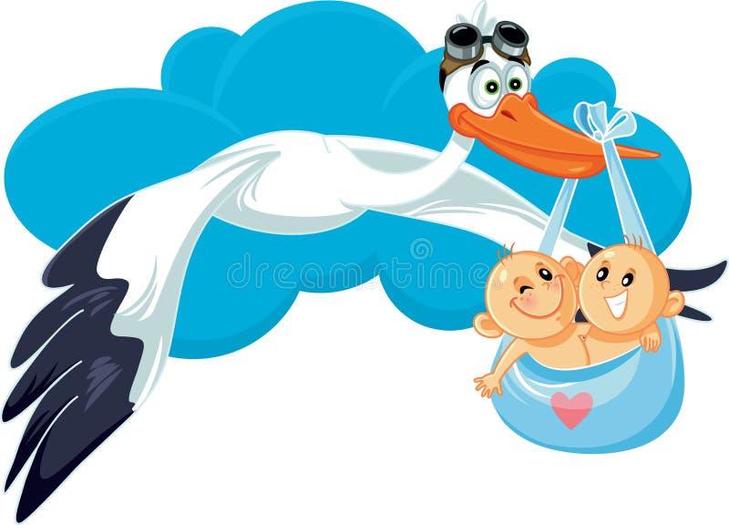 Cegonha dos desenhos animados com ilustração do vetor dos gêmeos ilustração do vetor
