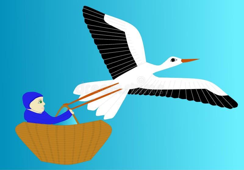 A cegonha leva o recém-nascido ilustração royalty free