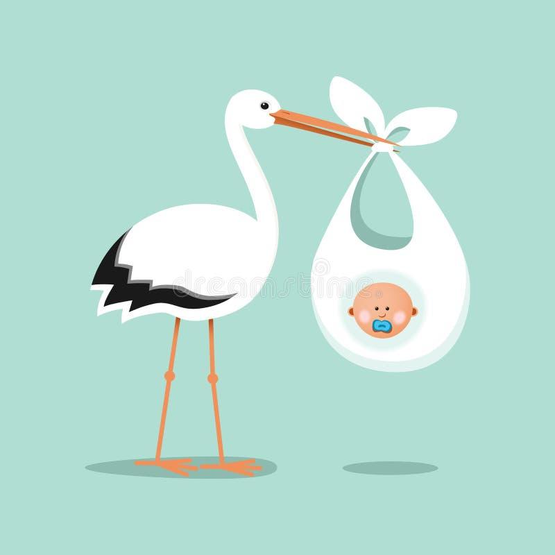 Cegonha que leva um bebê bonito ilustração do vetor