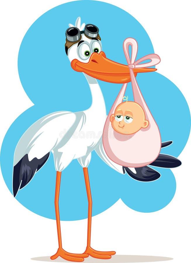 Cegonha que leva um bebê bonito em um saco ilustração stock