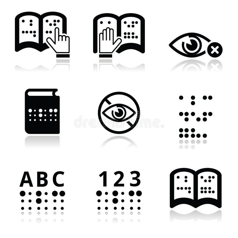 Ceguera, sistema del icono del sistema de escritura de Braille ilustración del vector