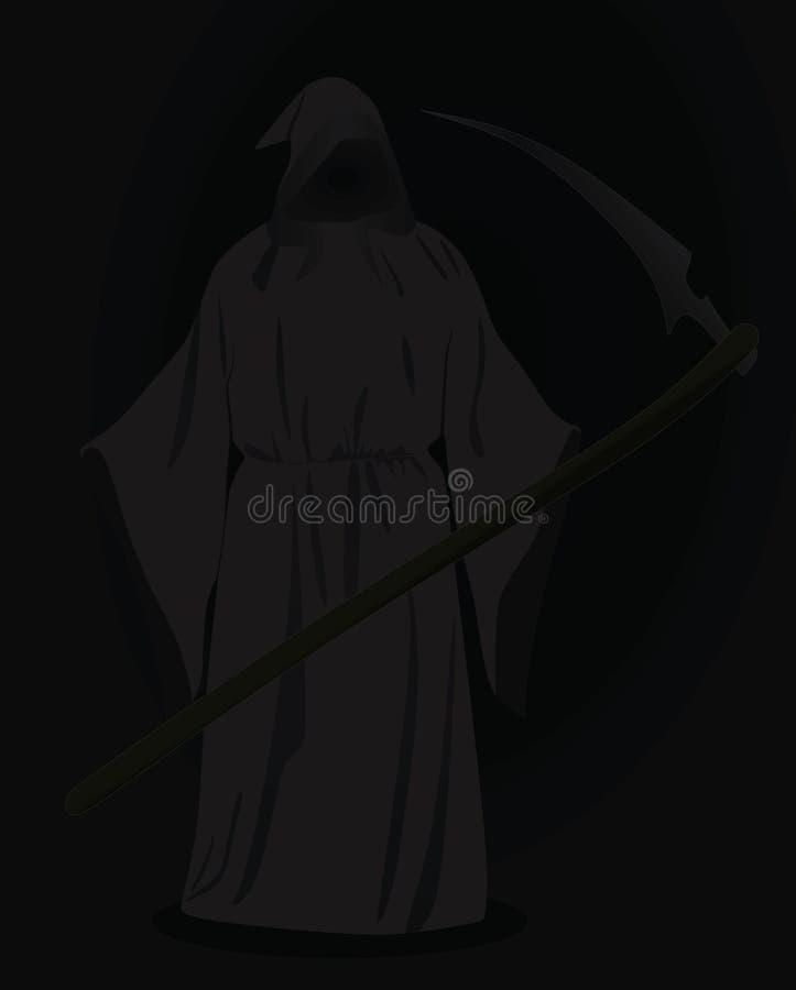 Ceifador com a foice na obscuridade ilustração stock