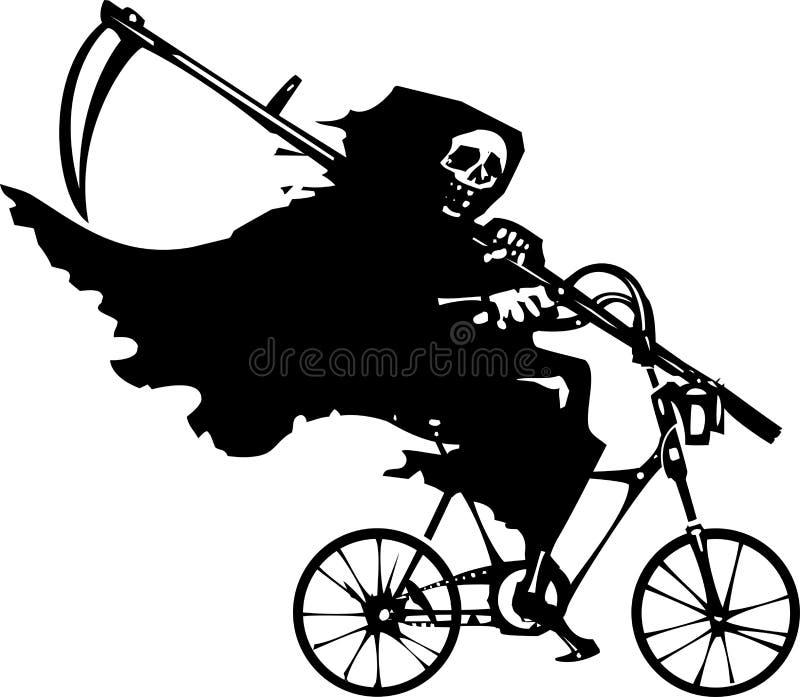 Ceifador em uma bicicleta ilustração stock