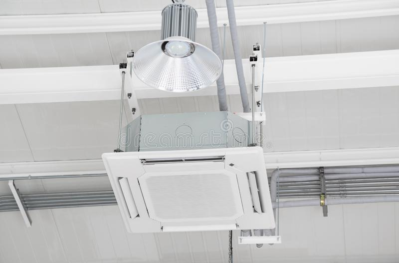 Ceiling air conditioner hanging type under office building.  royalty free stock image