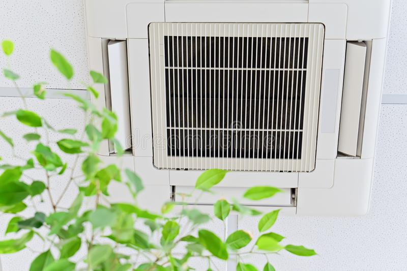 Ceiling air conditioner in modern office or at home with green ficus leaves. Ceiling air conditioner in modern office or at home with green ficus plant leaves an stock photography