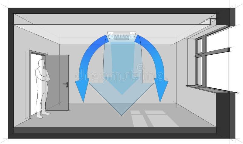 Ceiling air conditionig unit diagram stock illustration