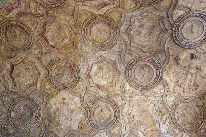 Ceiling  of an antique roman house in Pompeii, Italy. stock photo