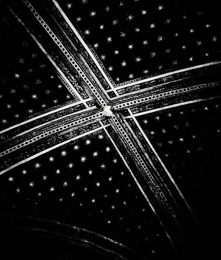 Ceiling. Artistic view in black and white. stock photos