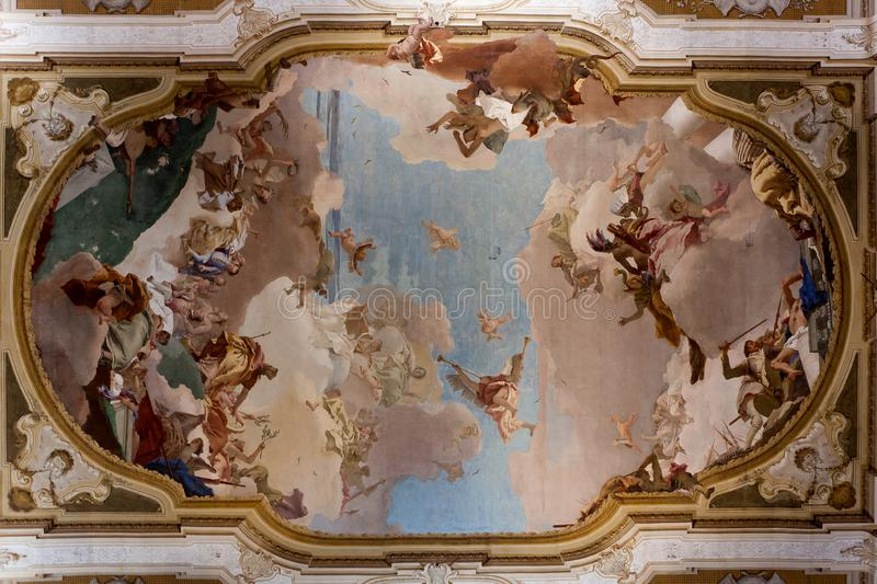 Tiepolo ceiling ball room Villa Pisani, Stra, Veneto, Italy royalty free stock image