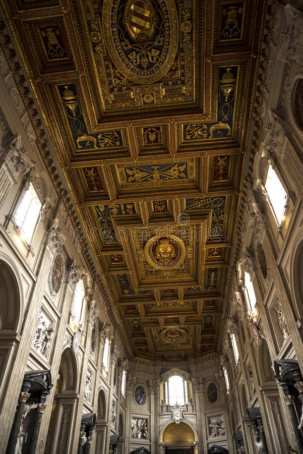 Ceiling in the Basilica of St John Lateran in Rome Italy stock photography