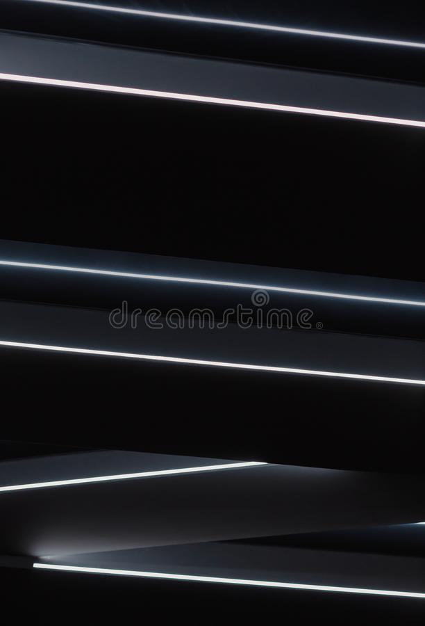 Ceiling black flowers with LED lines, new design. Ceiling black flowers with LED lines, new design stock photo