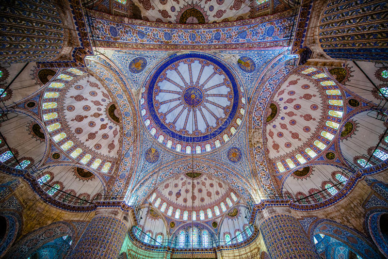 Ceiling of the Blue Mosque royalty free stock image